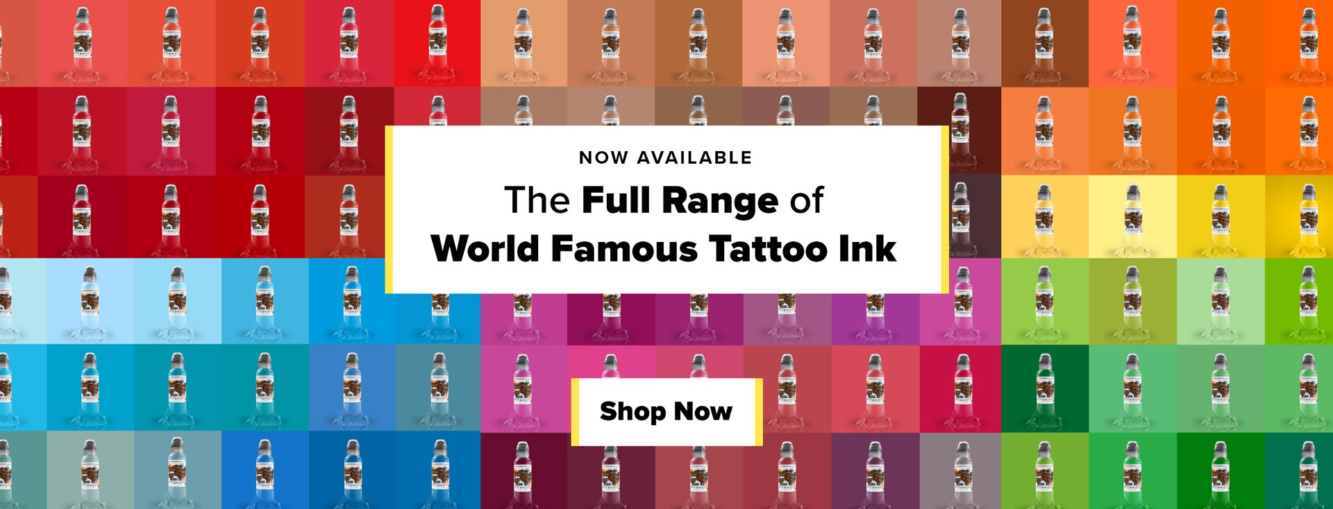 Swatches of world famous tattoo ink announcing the carrying of the full line of ink