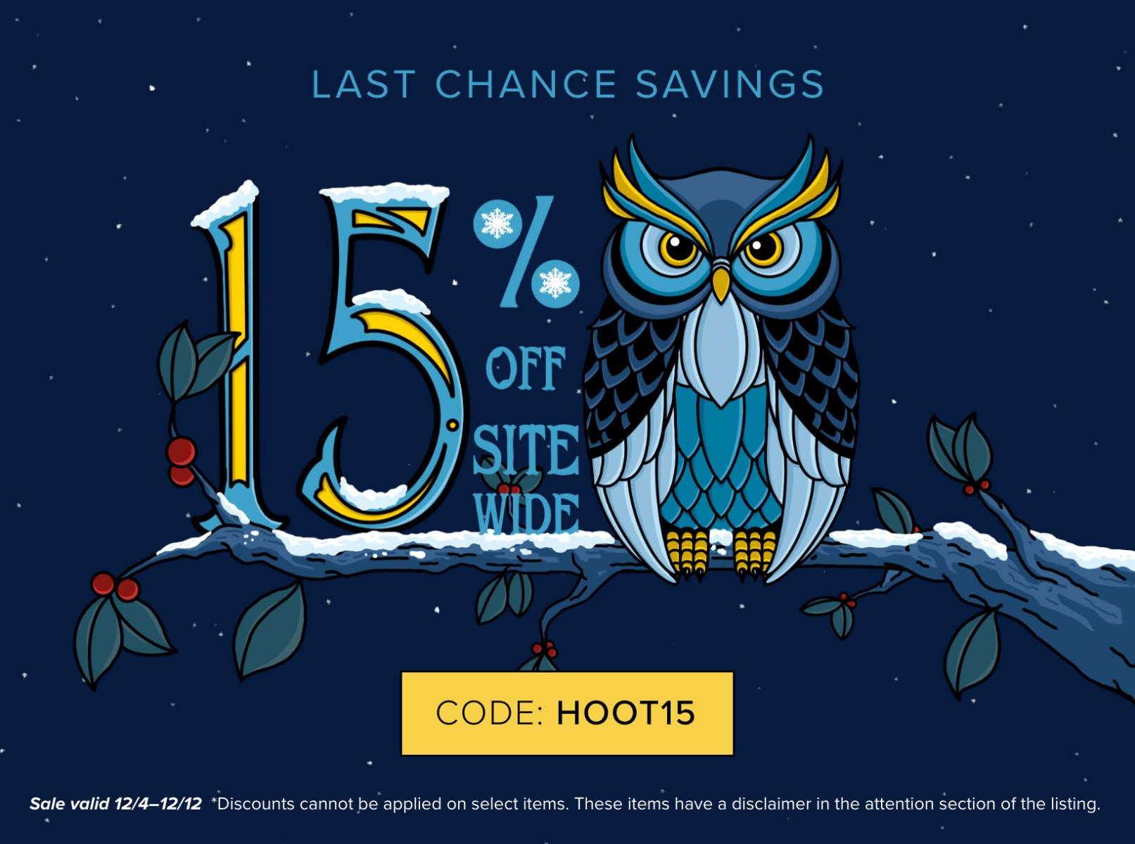 Last Chance Save 15 Percent Sitewide